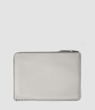 Damen Fleur De Lis Large Leather Pouch (Light Grey) - product_image_alt_text_2