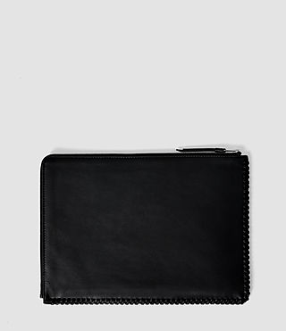 Damen Fleur De Lis Large Leather Pouch (Black) - product_image_alt_text_2