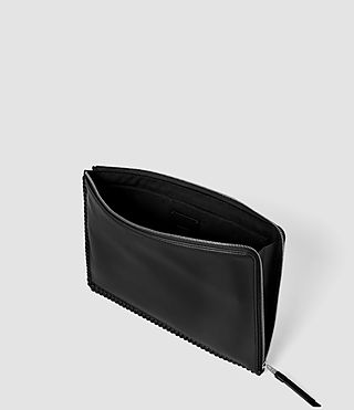 Damen Fleur De Lis Large Leather Pouch (Black) - product_image_alt_text_4