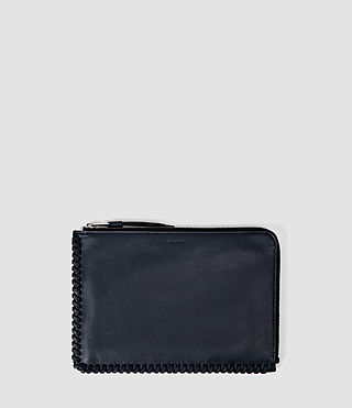 Damen Fleur De Lis Medium Leather Pouch (Midnight Blue)