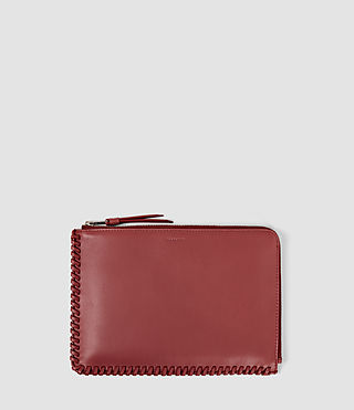 Damen Fleur De Lis Medium Leather Pouch (SAHARA RED)