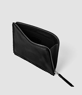 Donne Fleur De Lis Medium Leather Pouch (Black) - product_image_alt_text_5