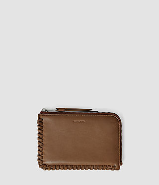 Damen Fleur De Lis Small Leather Pouch (Tan)