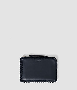 Damen Fleur De Lis Small Leather Pouch (Midnight Blue)
