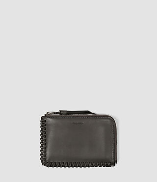 Damen Fleur De Lis Small Leather Pouch (Dark Grey)