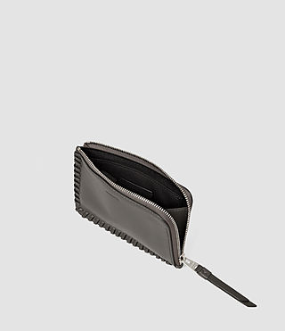 Women's Fleur De Lis Small Leather Pouch (Dark Grey) - product_image_alt_text_3