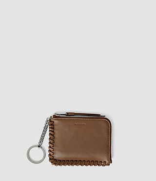 Femmes Fleur De Lis Leather Keyfob Coin Purse (Tan)