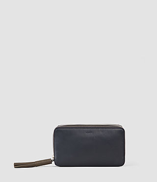 Donne Pearl Leather Makeup Case (PTRL BLUE/DRK GREY)