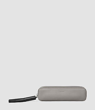 Womens Pearl Leather Pencil Case (MID GREY/BLACK)