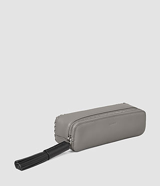 Women's Pearl Leather Pencil Case (MID GREY/BLACK) - product_image_alt_text_2