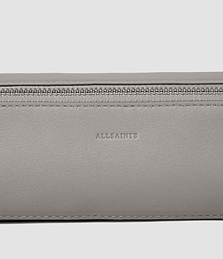 Women's Pearl Leather Pencil Case (MID GREY/BLACK) - product_image_alt_text_4