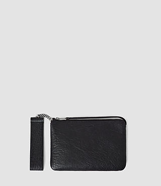 Damen Paradise Small Leather Chain Purse (Navy/Black)