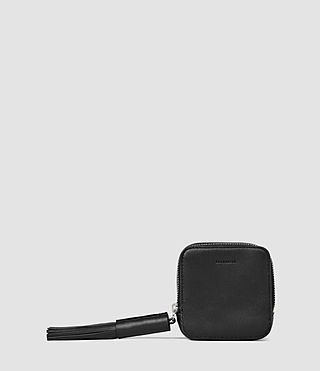 Femmes Pearl Leather Coin Purse (Black)