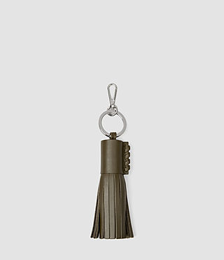 Damen Pearl Leather Keyfob (Dark Khaki Green) -