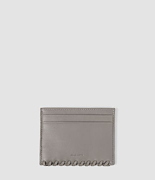 Women's Fleur De Lis Leather Cardholder (Mid Grey)
