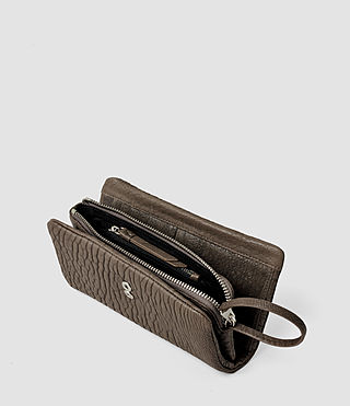 Women's Paradise Japanese Leather Wallet (Cement/Lead) - product_image_alt_text_4