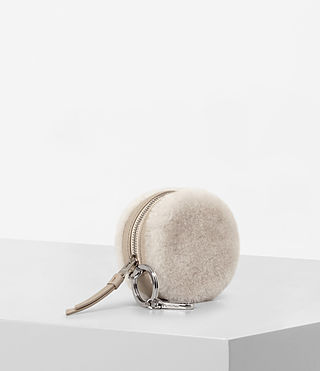 Womens Bansho Shearling Keyfob Pouch (NATURAL WHITE) - product_image_alt_text_1