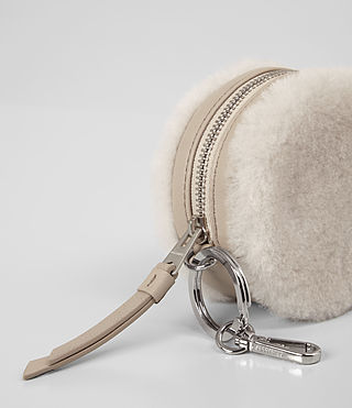 Womens Bansho Shearling Keyfob Pouch (NATURAL WHITE) - product_image_alt_text_2