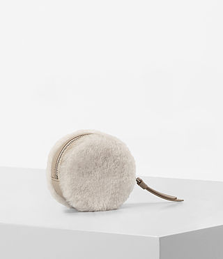 Womens Bansho Shearling Keyfob Pouch (NATURAL WHITE) - product_image_alt_text_4