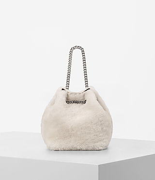 Womens Bansho Mini Shearling Pouch (NATURAL WHITE) - product_image_alt_text_1
