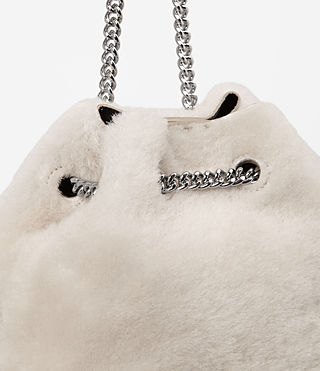 Womens Bansho Mini Shearling Pouch (NATURAL WHITE) - product_image_alt_text_2