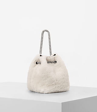 Womens Bansho Mini Shearling Pouch (NATURAL WHITE) - product_image_alt_text_4
