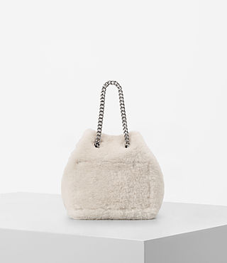 Womens Bansho Mini Shearling Pouch (NATURAL WHITE) - product_image_alt_text_5