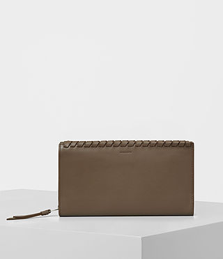 Womens Kita Leather Wallet (MINK GREY)