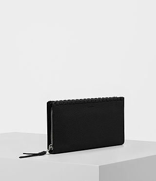 Women's Kita Pebble Leather Wallet (Black) - product_image_alt_text_3
