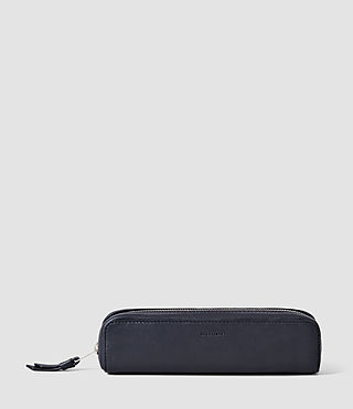 Femmes Fleur De Lis Mini Leather Pencil Case (Midnight Blue) -