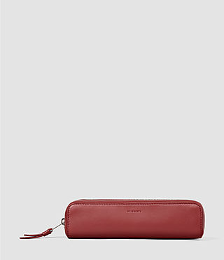 Damen Fleur De Lis Mini Leather Pencil Case (SAHARA RED)