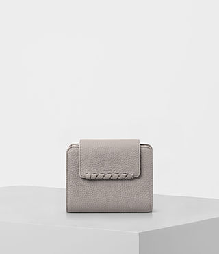 Womens Kita Mini Japanese Leather Wallet (Oyster Grey)