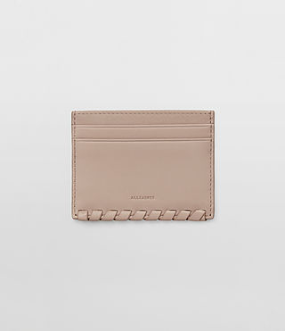 Damen Kita Leather Cardholder (Stone)