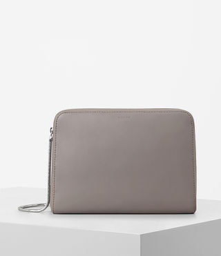 Women's Arc Large Leather Makeup Case (Oyster Grey)