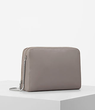 Womens Arc Large Leather Makeup Case (Oyster Grey) - product_image_alt_text_4