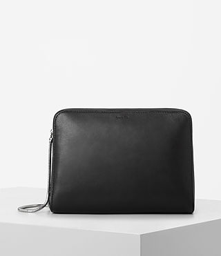 Women's Arc Large Leather Makeup Case (Black)