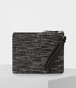 Womens Kita Large Tweed Pouch (Black/White)