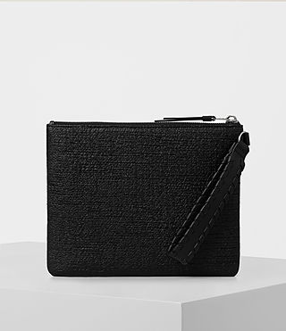 Womens Kita Large Tweed Pouch (Black)