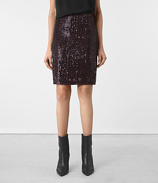 Donne Aivren Embellished Pencil Skirt (AUBERGINE RED)