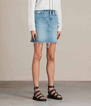 Women's Kim Denim Skirt (LIGHT INDIGO BLUE) - product_image_alt_text_3