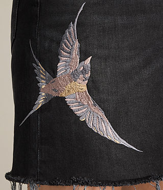 Damen Birds Embroidered Denim Skirt (Washed Black) - product_image_alt_text_2
