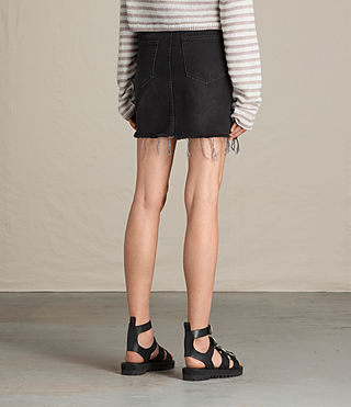 Damen Birds Embroidered Denim Skirt (Washed Black) - product_image_alt_text_4