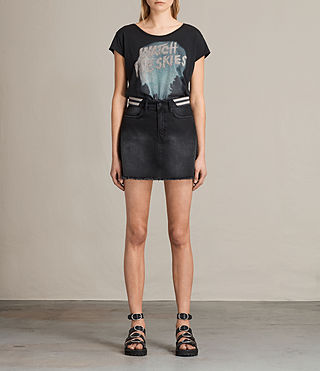Donne Rib Denim Skirt (Washed Black)
