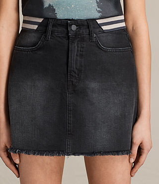Womens Rib Denim Skirt (Washed Black) - product_image_alt_text_2