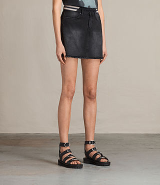 Women's Rib Denim Skirt (Washed Black) - product_image_alt_text_3