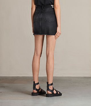 Women's Rib Denim Skirt (Washed Black) - product_image_alt_text_4