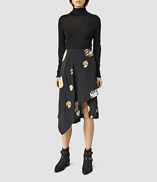 Womens Cecilia Brocade Skirt (Black)
