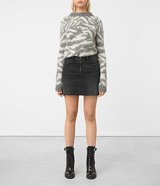 Damen Jasper Denim Zip Skirt (Black)