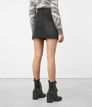 Mujer Jasper Denim Zip Skirt (Black) - product_image_alt_text_3