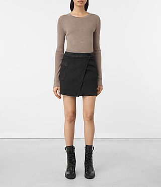 Damen Ruth Denim Skirt (Black) -